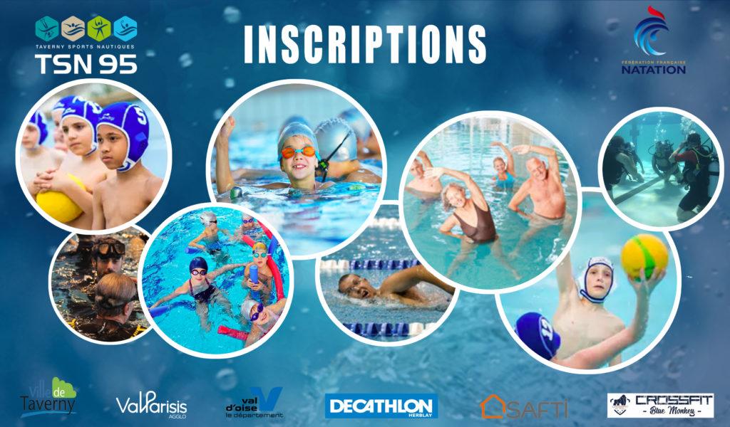 inscriptions tsn95 taverny natation water-polo plongée aquaform